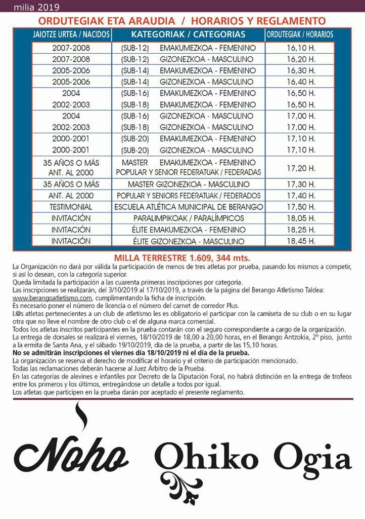 horarios milla 2019
